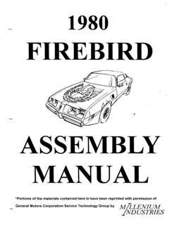 1980 Pontiac Firebird Assembly Manual