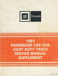 1981 Pontiac Service Manual Supplement (Canadian) *SALE*