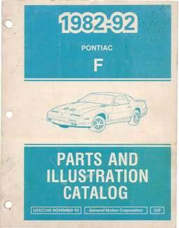 1982 - 1992 Pontiac Firebird Parts and Illustration Catalog